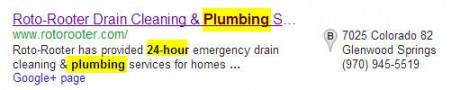 Google business listing for 24 plumber