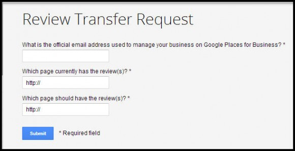 Google Review Transfer Request