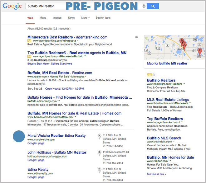 This is what the search engine results looked like with local results pre pigeon update