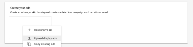 upload display ads for retargeting ads in Google AdWords