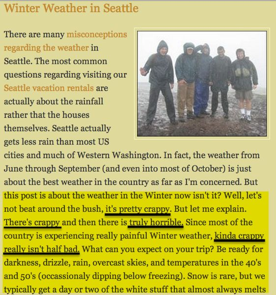 "A lot of people searched for ""winter weather Seattle"" and found my blog post... and my properties."