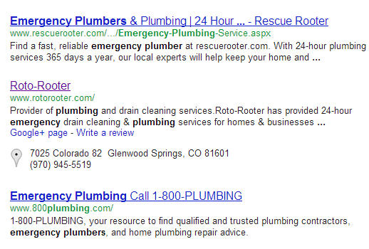 Example of a local listing blended into the organic search results