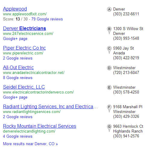 Example of a Local Pack of search results