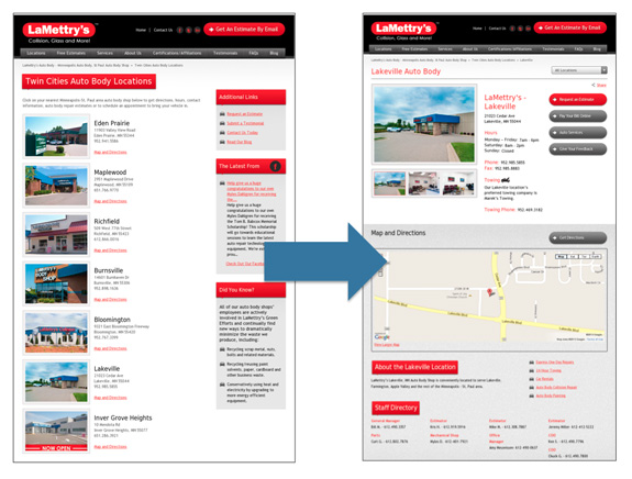 auto body location page