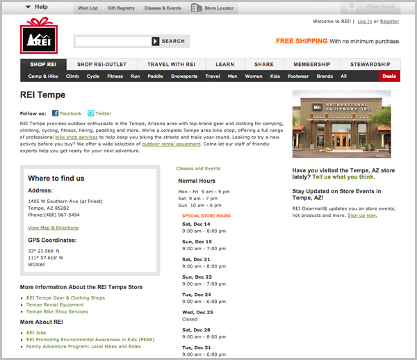 REI Tempe Location example