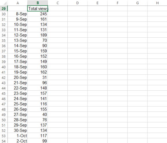 excel views data