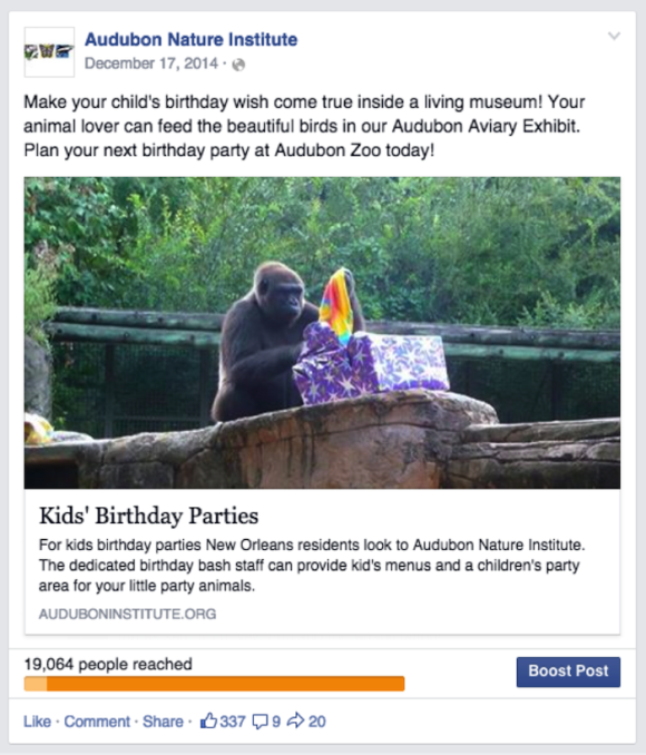 Audubon Nature Institute Facebook Post Image