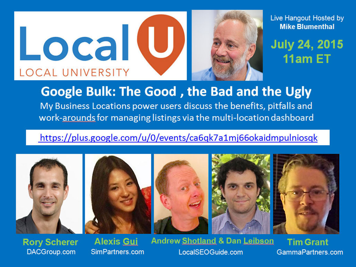 Video: LocalU Google Bulk   The Good, The Bad And The Ugly Hangout   Local  University