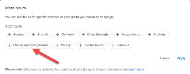 Google My Business Online Operating Hours