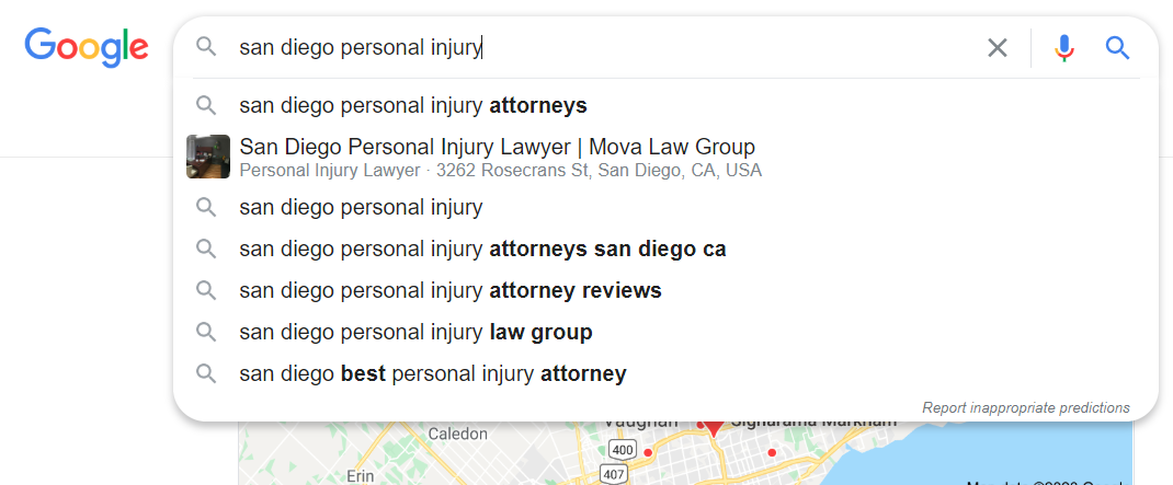 San Diego Personal Injury autocomplete