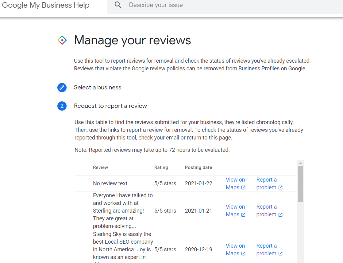 review removal screenshot